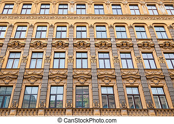Art Nouveau architecture style in Riga - the wall of Art...