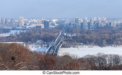 Capital of Ukraine - KievMetro bridge and new residential...