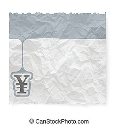 Crumpled paper for your text and yen symbol