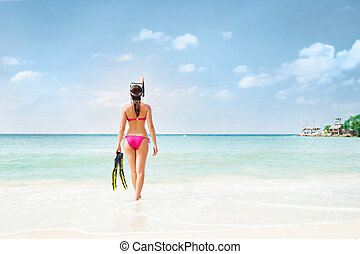 Rare view of hot, sexy woman going diving with snorkeling...