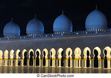 Detail of the Sheikh Zayed Mosque at night. Abu Dhabi,...