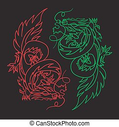 Chinese Dragon Oriental Feng Shui - Isolated Chinese Dragon...
