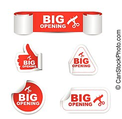 red set vector paper stickers big opening with icon