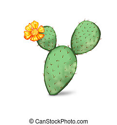 Digital painting of cactus with flower - Digital painting of...