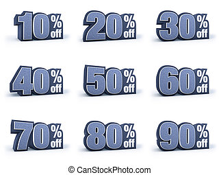 Set of Discount price signs in 9 variations isolated on...