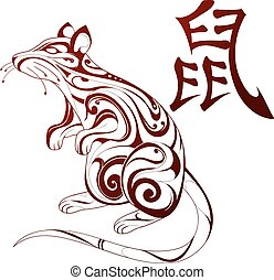 Rat as symbol for Chinese zodiac - Ornamental rat figure as...