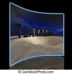 terrorism - 3d terrorism word in field by night