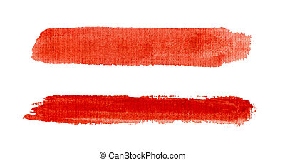Watercolor red strokes isolated.