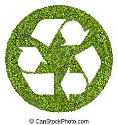 reciclaje, logotipo, símbolo, De, el, verde, grass.,