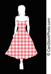 Gingham Night Out - Girl silhouette walking out in a gingham...