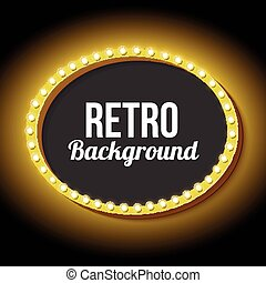 Retro frame circle with neon lights - Vintage sign with neon...