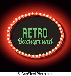 Retro frame circle with neon lights - Red vintage frame...
