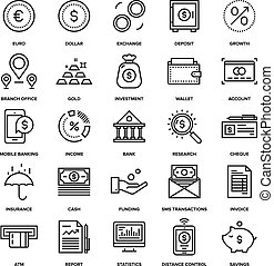 Banking and Money - Abstract vector collection of line...