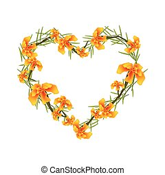 Orange French Marigold Flowers in A Heart Shape - Love...