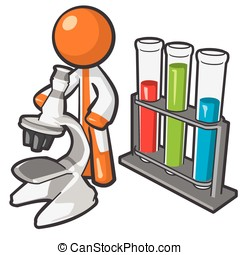 Orange Person Scientist with Microstope and Vials