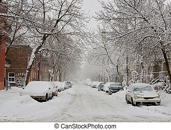 Snow storm in Montreal - The street filled with fresh snow...