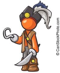 Orange Person Pirate with Cutlass Sword - Orange person...