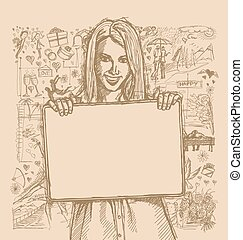 Sketch Happy Woman Holding Blank White Card Against Love...