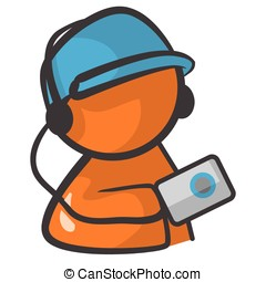 Orange Person with Ipod - Orange person holding an ipod...