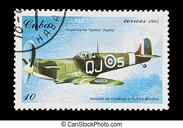 spitfire - mail stamp printed in Cuba featuring an RAF...