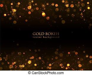 Magic sparkle, gold dots on dark background. Vector bokeh effect.