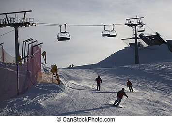 Ski lift in italian Dolomites