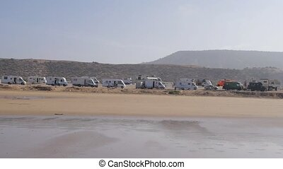many trailers at beach in Morocco, Africa