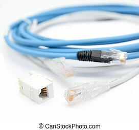 Ethernet cables - Blue and gray ethernet Cat5e cables with...