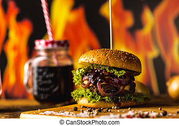 Hot American burgers, traditional cuisine