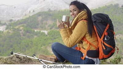 Active young female backpacker - Active attractive young...