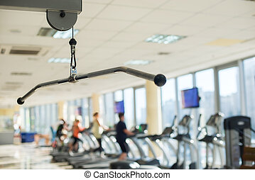 Training apparatus in gym hall.