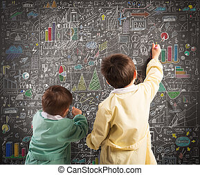 Little financial genius - Children draw diagrams and...
