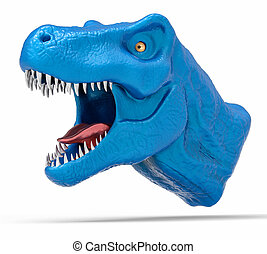 3D Isolated T-Rex Head. Dangerous Dinosaur Background.