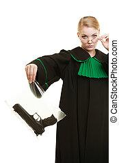 mujer, abogado, con, arma de fuego, bolsa, marcado,...