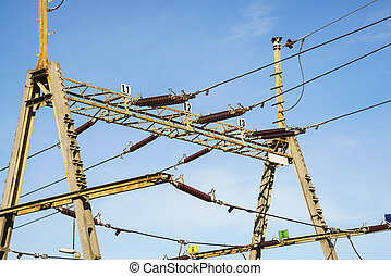 Overhead line wire over rail track Power lines - Railway...