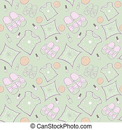 Vector Green Pajama Party Movie Night Seamless Pattern...