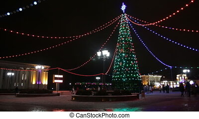 Main Christmas Tree And Festive Illumination On Soviet...