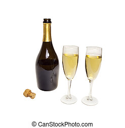 Champagne bottle with glasses