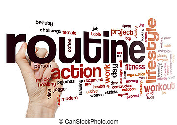 Routine word cloud concept - Routine word cloud