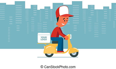 Delivery service - Cartoon young man riding a scooter with...