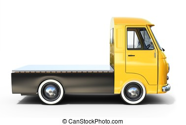 3d yellow vintage truck  platform on white background