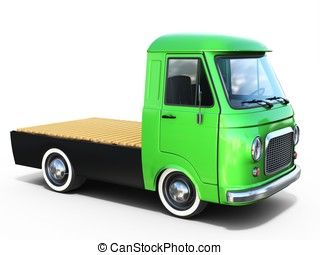 3d green vintage truck platform on white background