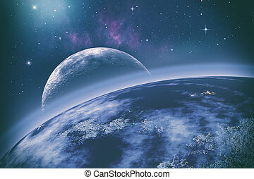 Earth orbit. Universe. Abstract science backgrounds. NASA...