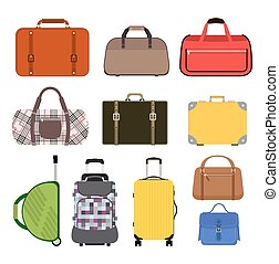 Travel bag vector illustration icons collection