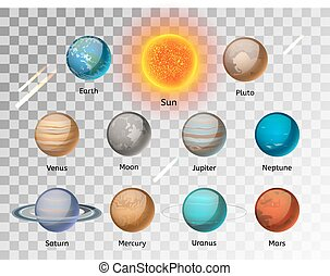 Planets colorful vector set on white background, Planet...