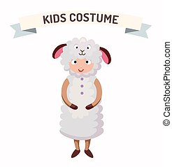 Sheep kid costume isolated vector illustration Kids party...