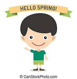 Hello Summer cartoon boy with hands up vector illustration