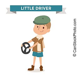 Driver boy with car rude isolated on white Cute cartoon...