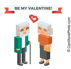 Isometric old family couple in love celebrate wedding date
