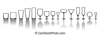 glasses for various alcoholic drinks - Vector...